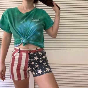 Vintage VTG Y2K High Rise American Flag Shorts 2/4